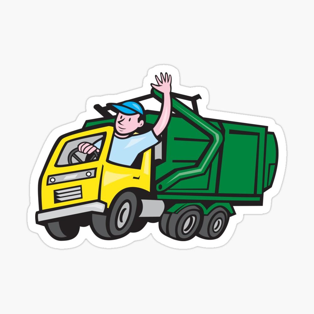 Garbage clipart bin lorry. Truck driver waving cartoon