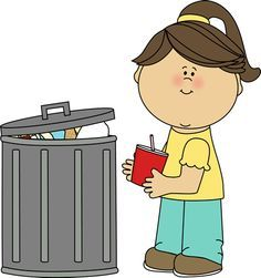 Girl picking up trash. Garbage clipart classroom