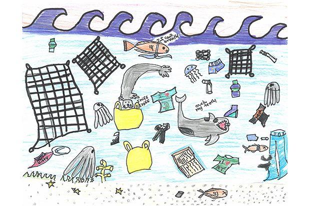 kids drawings that. Garbage clipart drawing ocean