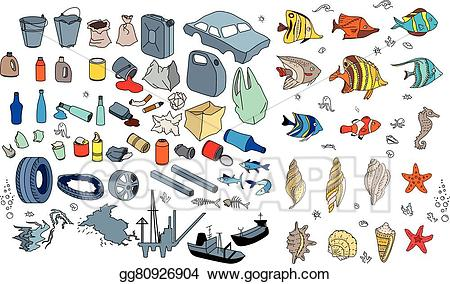 Garbage clipart drawing ocean. Eps illustration different kinds
