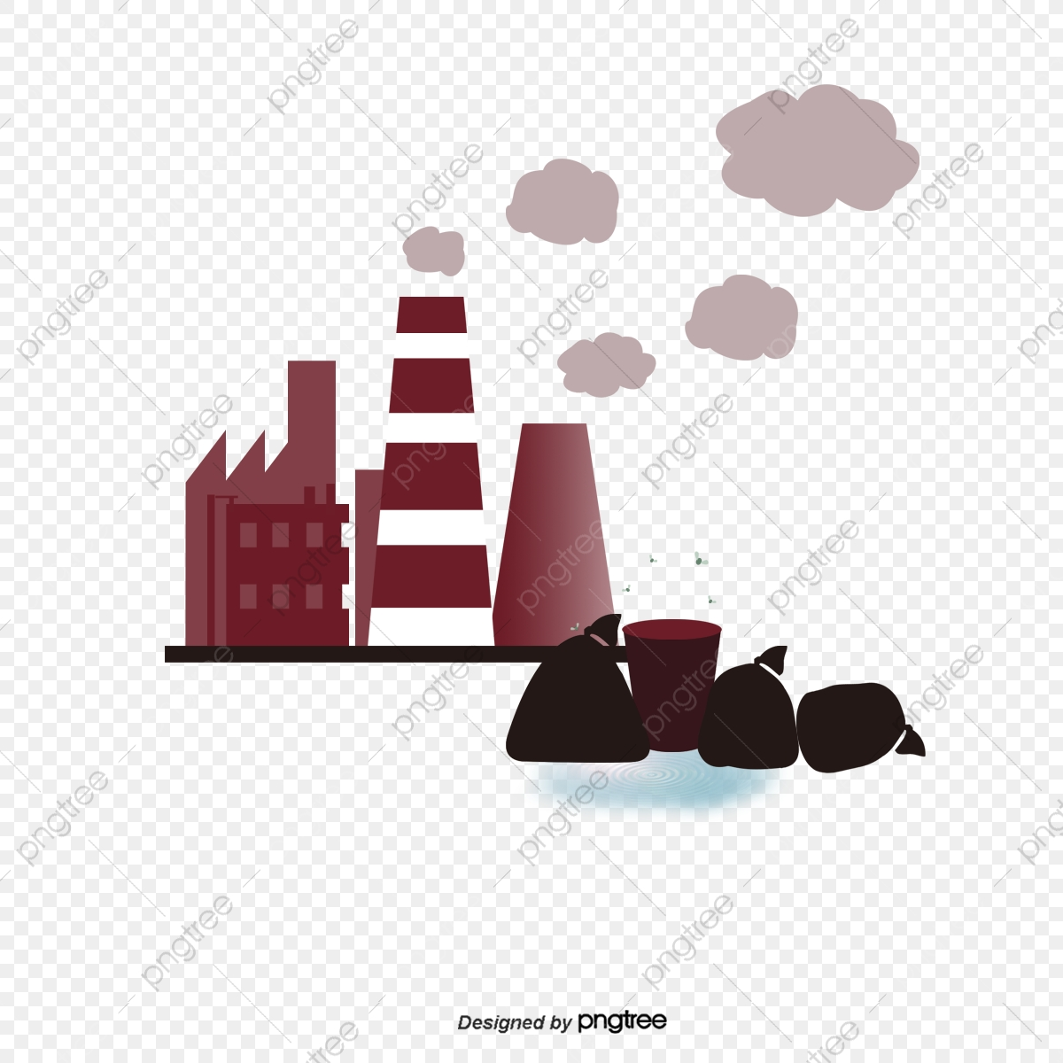 Pollution from a . Garbage clipart factory waste