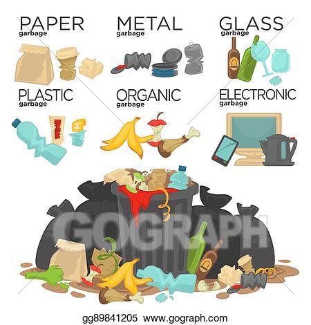 Vector art sorting waste. Garbage clipart food garbage