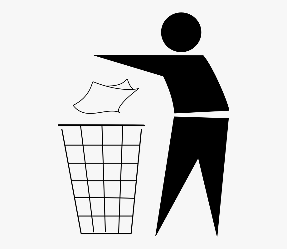 Trash throw in can. Garbage clipart garbage box