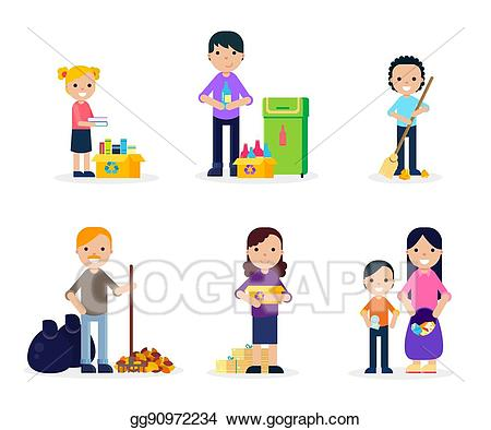 Eps vector flat set. Garbage clipart garbage cleaning