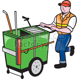 Garbage clipart garbage cleaning. Cleaner cart push janitor