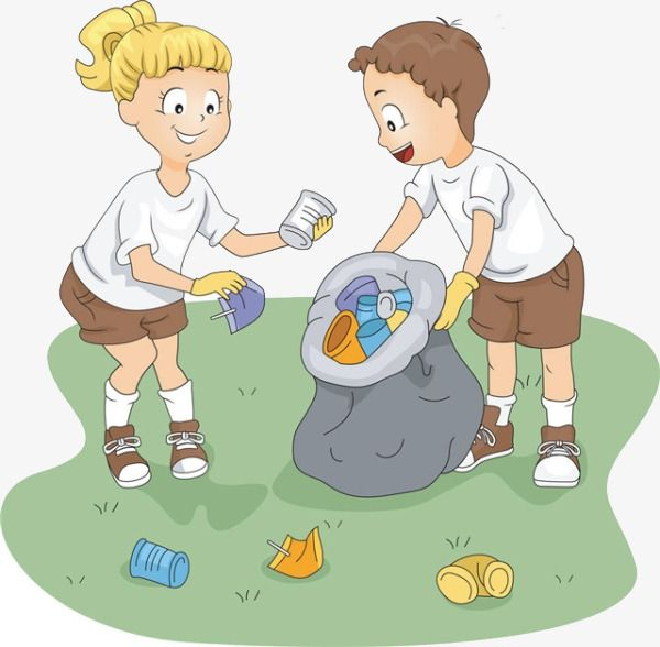 Cartoon girl boy picking. Garbage clipart garbage cleaning