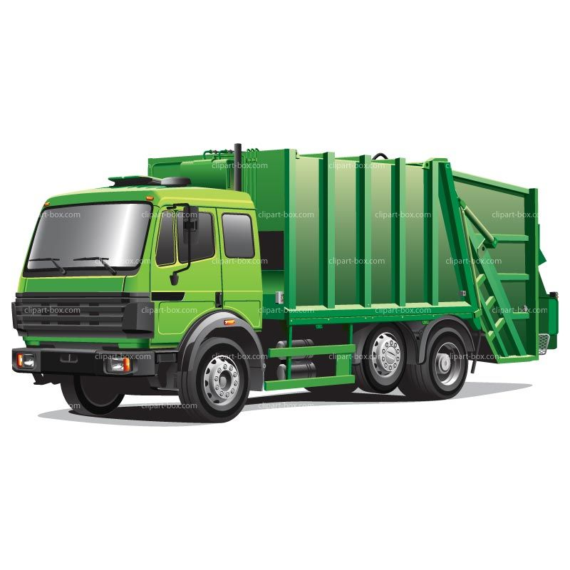Garbage clipart garbage place. Green truck royalty free