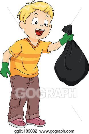 Vector illustration kid boy. Garbage clipart in school