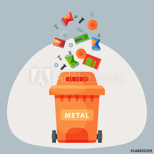 Recycling metal elements trash. Garbage clipart industrial waste