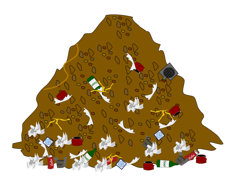 collection of trash. Garbage clipart mountain garbage