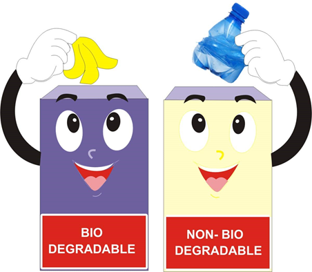 Biodegradable and non difference. Garbage clipart nonbiodegradable