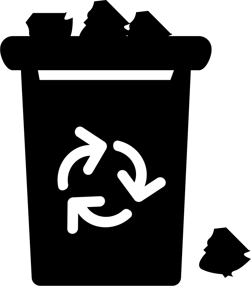 With recycle sign trash. Garbage clipart overflowing