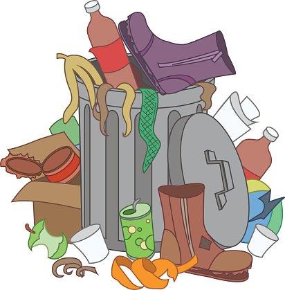 Garbage clipart overflowing. Trash recycle waste premium