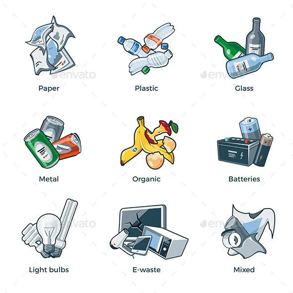 Isolated trash waste categories. Garbage clipart recycling glass