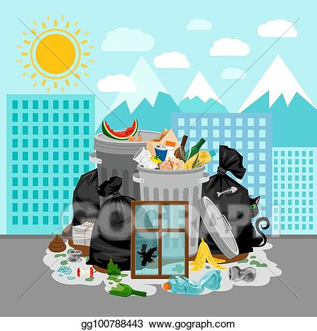Garbage clipart river clipart. Vector stock dump on