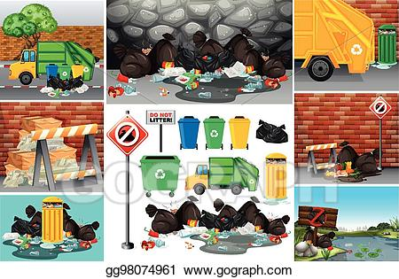 Vector scenes with dirty. Garbage clipart road clipart