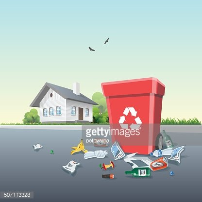 Littering around the trash. Garbage clipart road clipart
