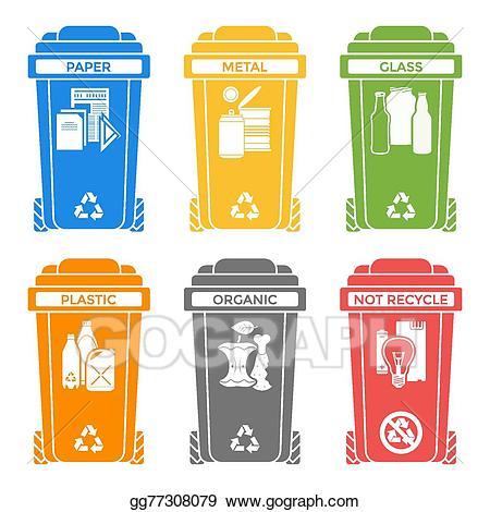 Eps illustration various colors. Garbage clipart separate