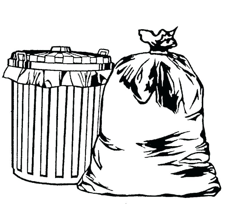 Garbage clipart sketch. Trash can drawing at