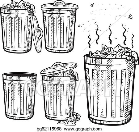 Garbage clipart sketch. Clip art vector cans