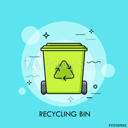 Garbage clipart waste material. Green recycle bin or