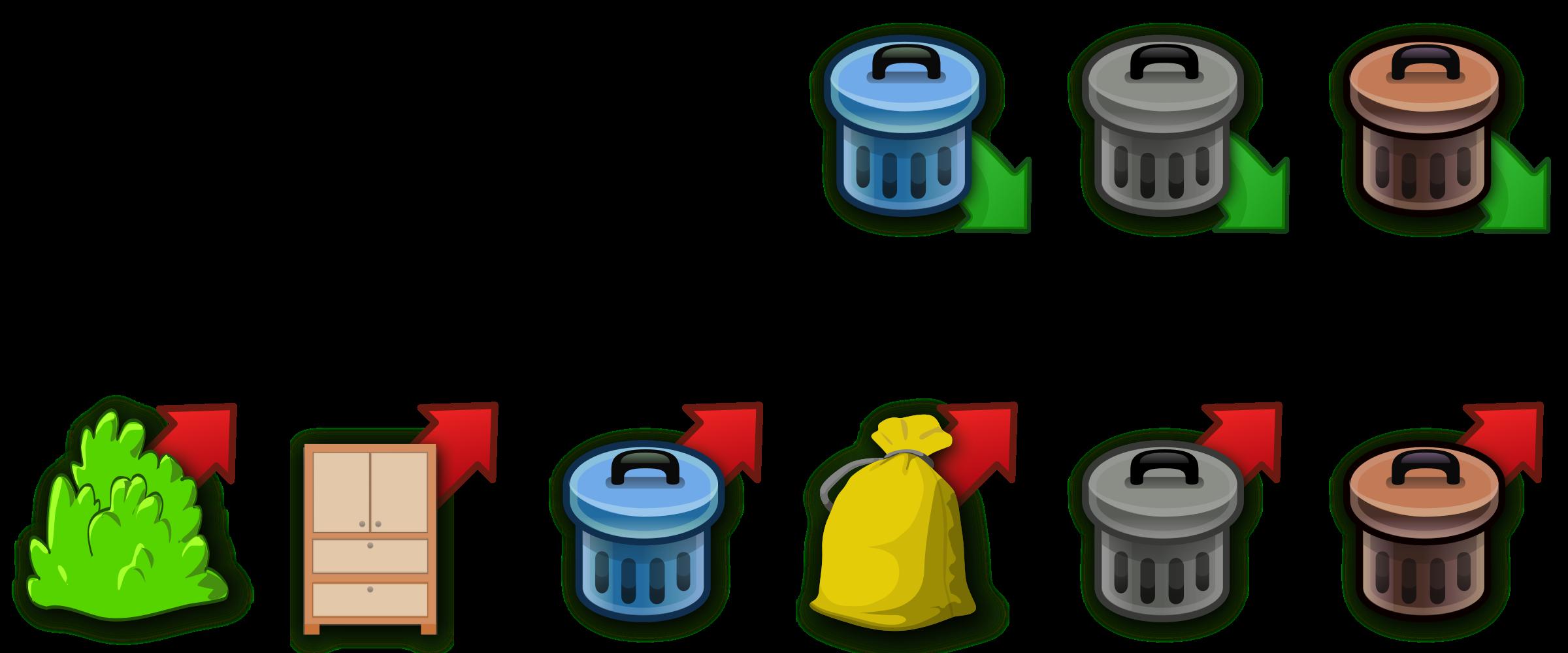 Trash icons big image. Garbage clipart waste separation
