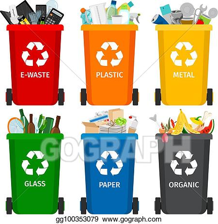 Vector stock trash in. Garbage clipart waste separation
