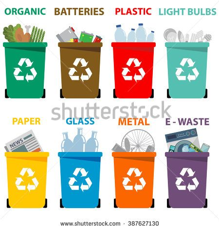 Different colored recycle bins. Garbage clipart waste separation