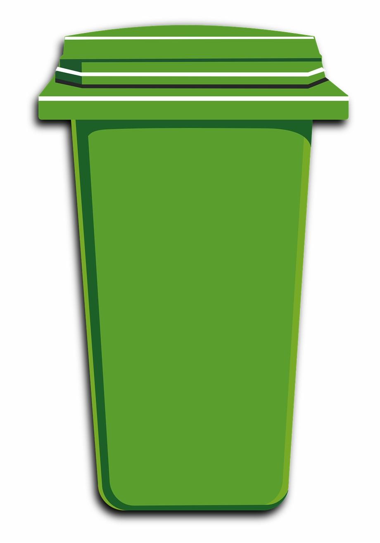 Garbage clipart wastebin. Green trash bin can