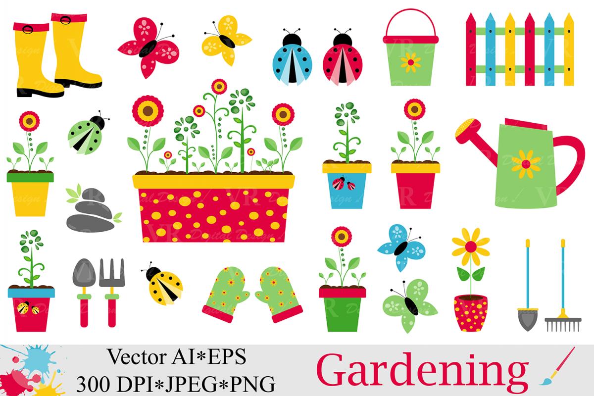 Garden clipart. Spring gardening vecto design