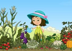 Vegetable graphic with kids. Garden clipart