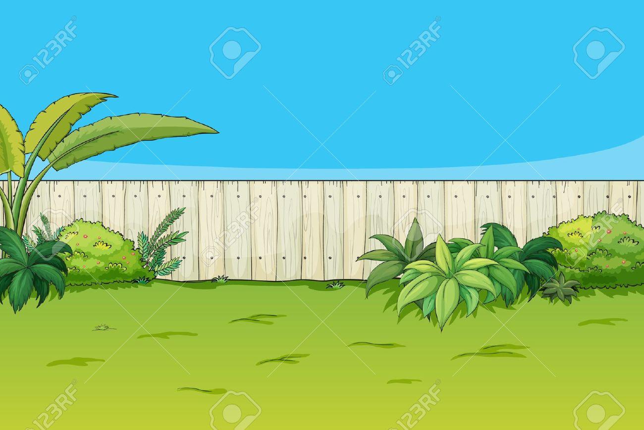 Cartoon house illustration of. Garden clipart backyard