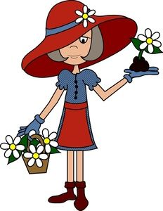 Red ladies clip art. Garden clipart hat