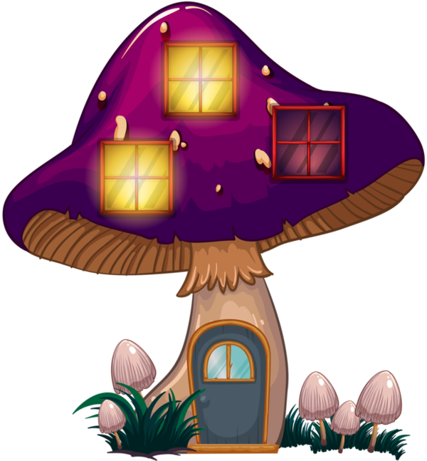 Champignons png tubes color. Mushrooms clipart fairy village
