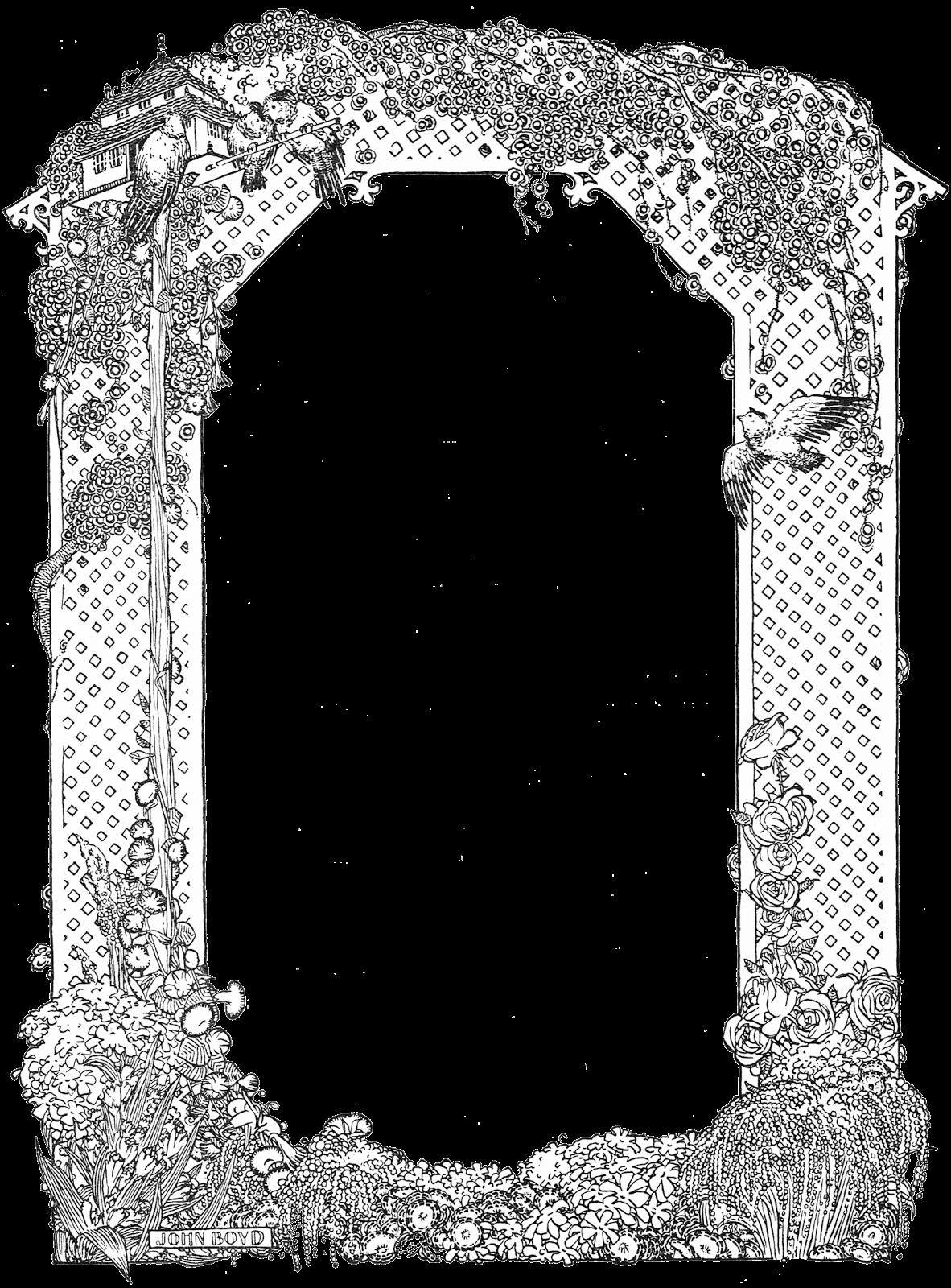 Arbor clip art frame. Garden clipart rectangle