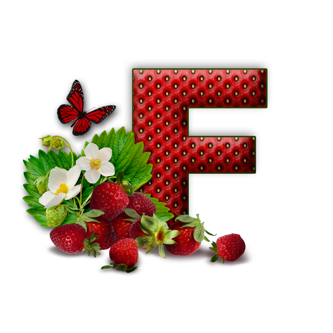 Garden clipart strawberry. Flores y letras para
