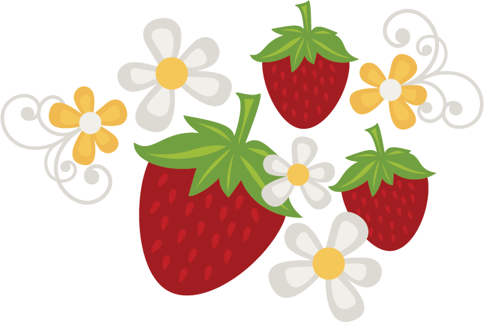 Strawberries flowers svg file. Garden clipart strawberry