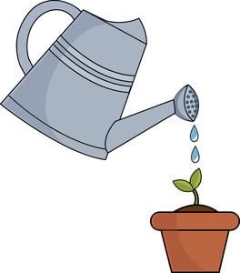 Water garden clip art. Gardener clipart watering can
