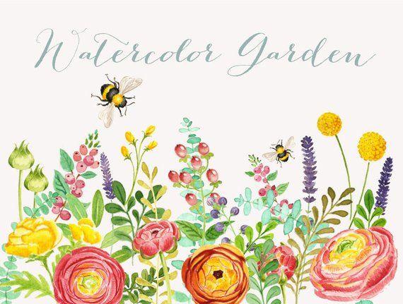 Gardening clipart watercolor. Garden instant download wedding
