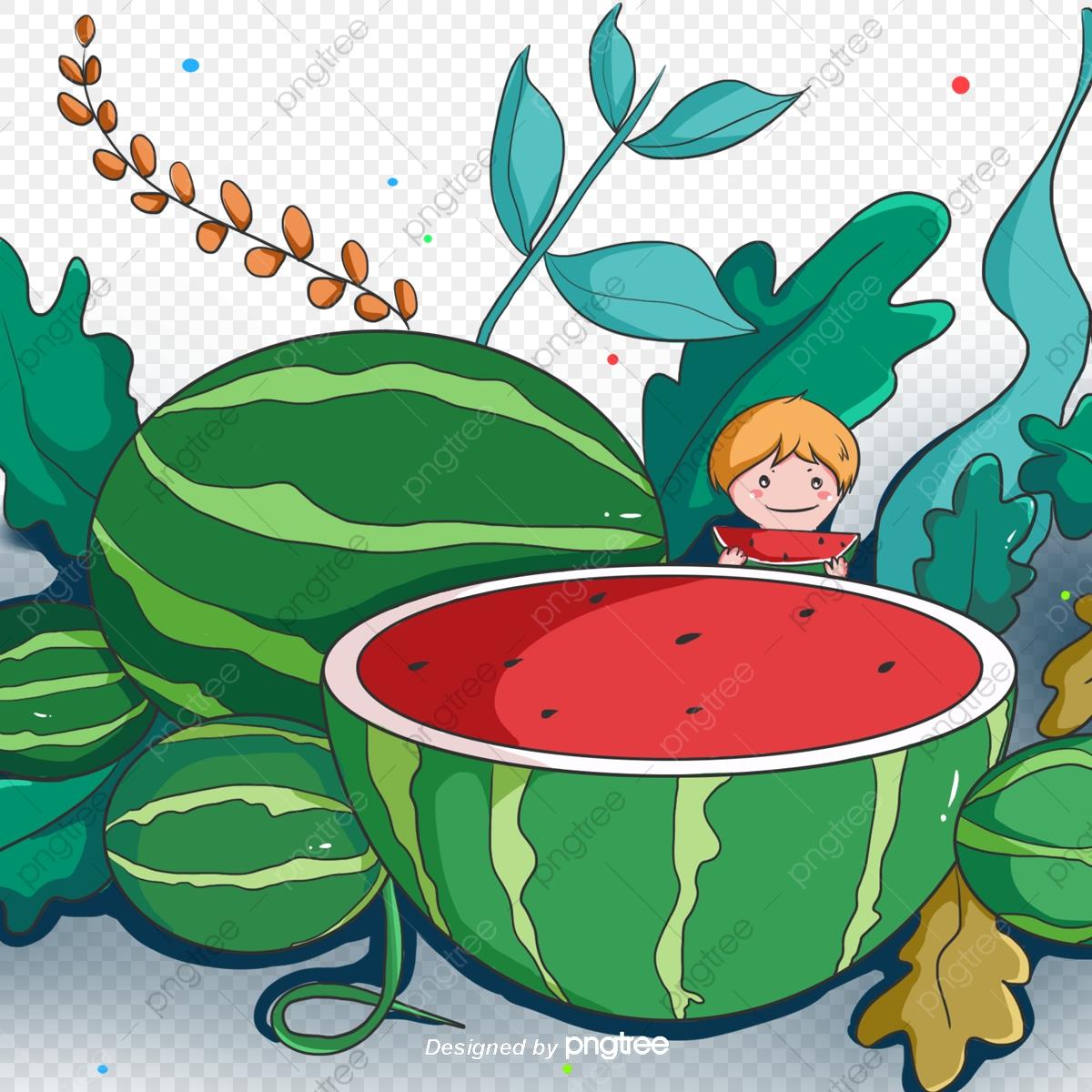 Cartoon hand painted green. Watermelon clipart garden