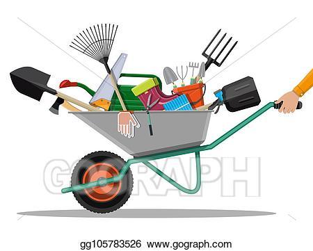 Gardener clipart garden rake. Vector art gardening tools