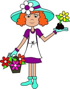 Gardener clipart lady gardener. Gardening image girl or