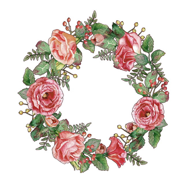 Pink flower element pinterest. Garden clipart wreath