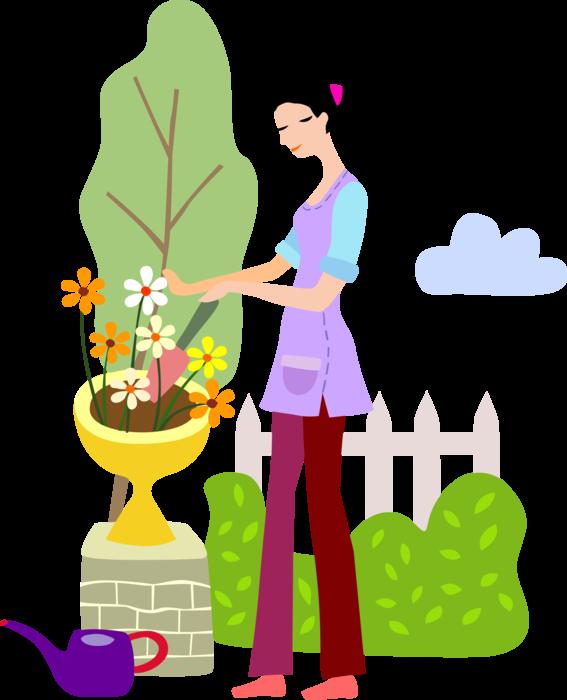Plants flowers with trowel. Gardener clipart backyard garden