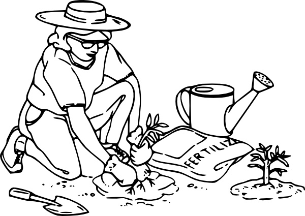 Gardening clipart black and white. Clip art free vector