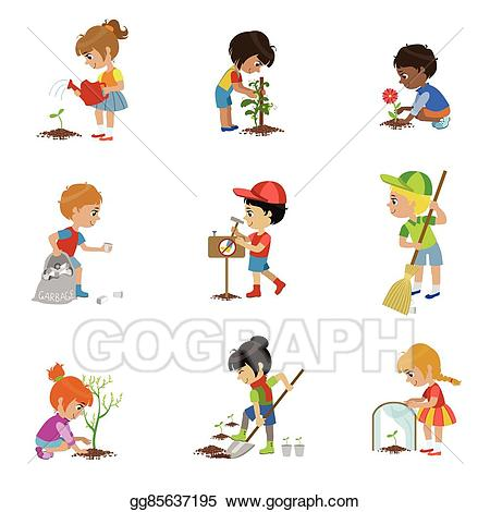 Gardener clipart boy. Vector illustration kids gardening