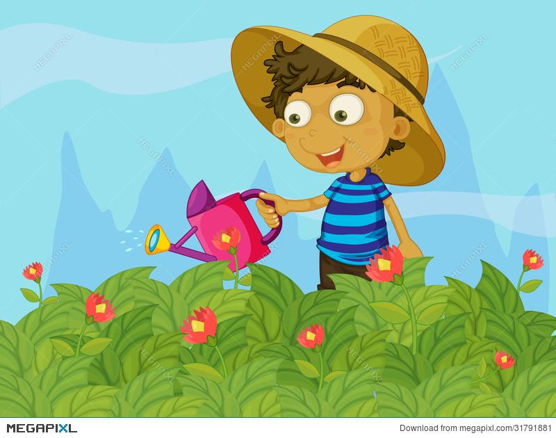 A watering the plants. Gardener clipart boy