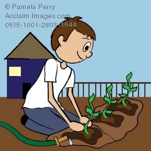 Clip art illustration of. Gardener clipart boy
