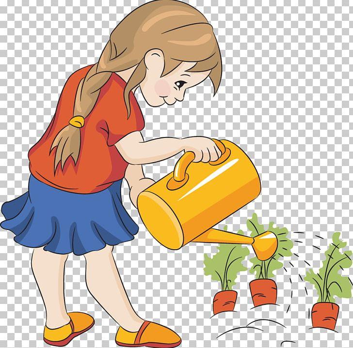Gardener clipart boy. Watering can plant garden