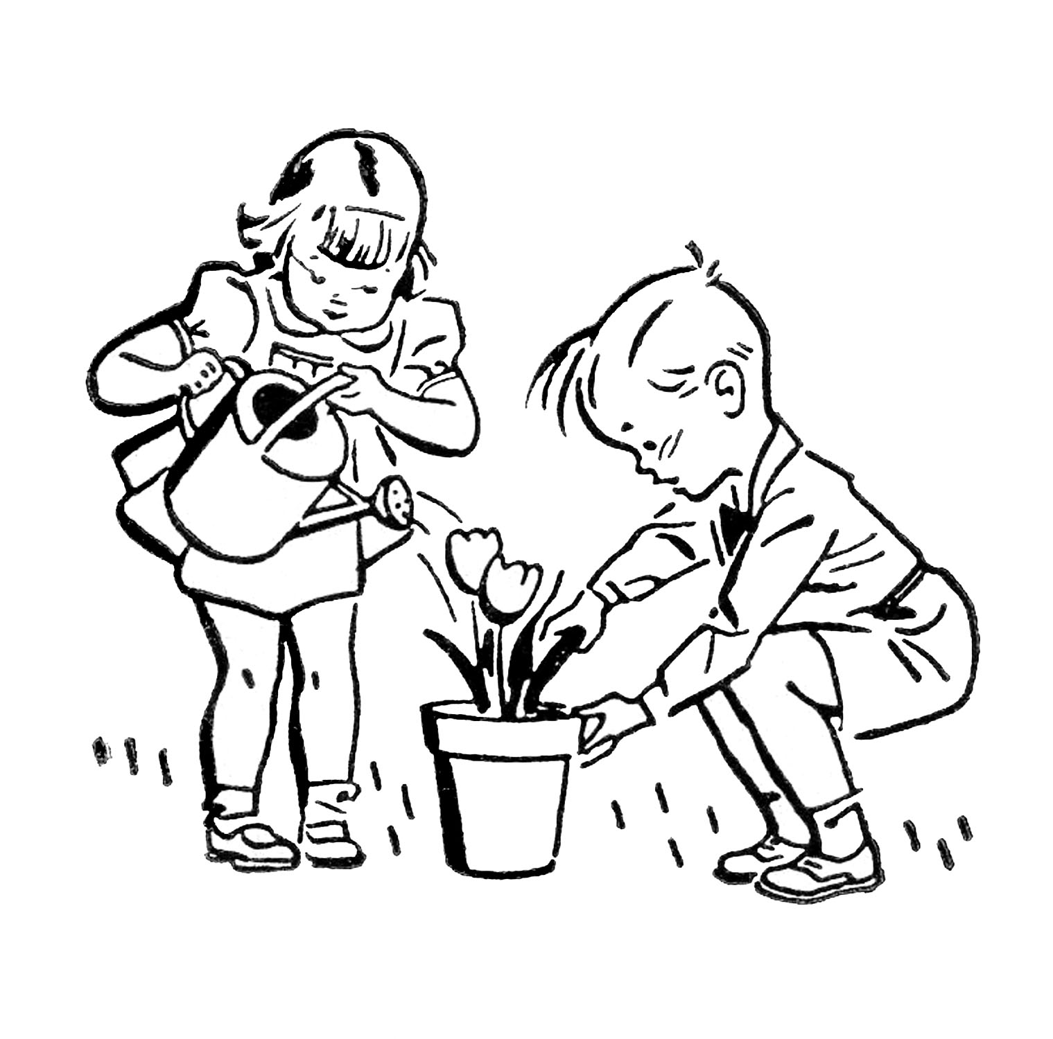 Retro images cute kids. Gardening clipart black and white